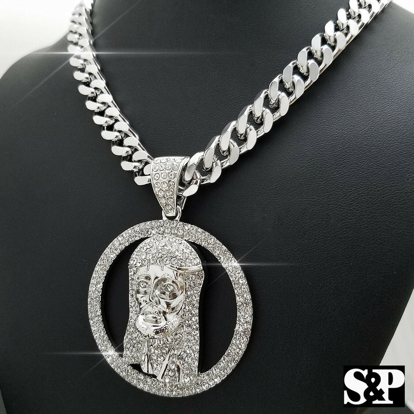 "HIP HOP ICED OUT BIG JESUS FACE PENDANT & 10mm 30"" HEAVY CUBAN CHAIN NECKLACE"