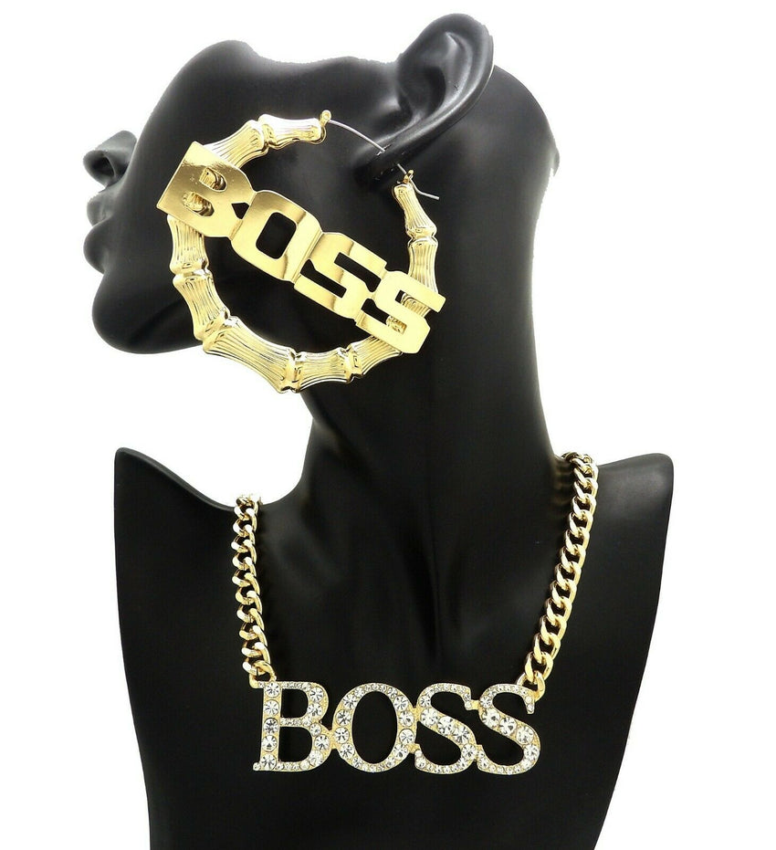 WOMEN BOSS PENDANT FASHION NECKLACE & PINCATCH HOOP EARRING GIFT SET