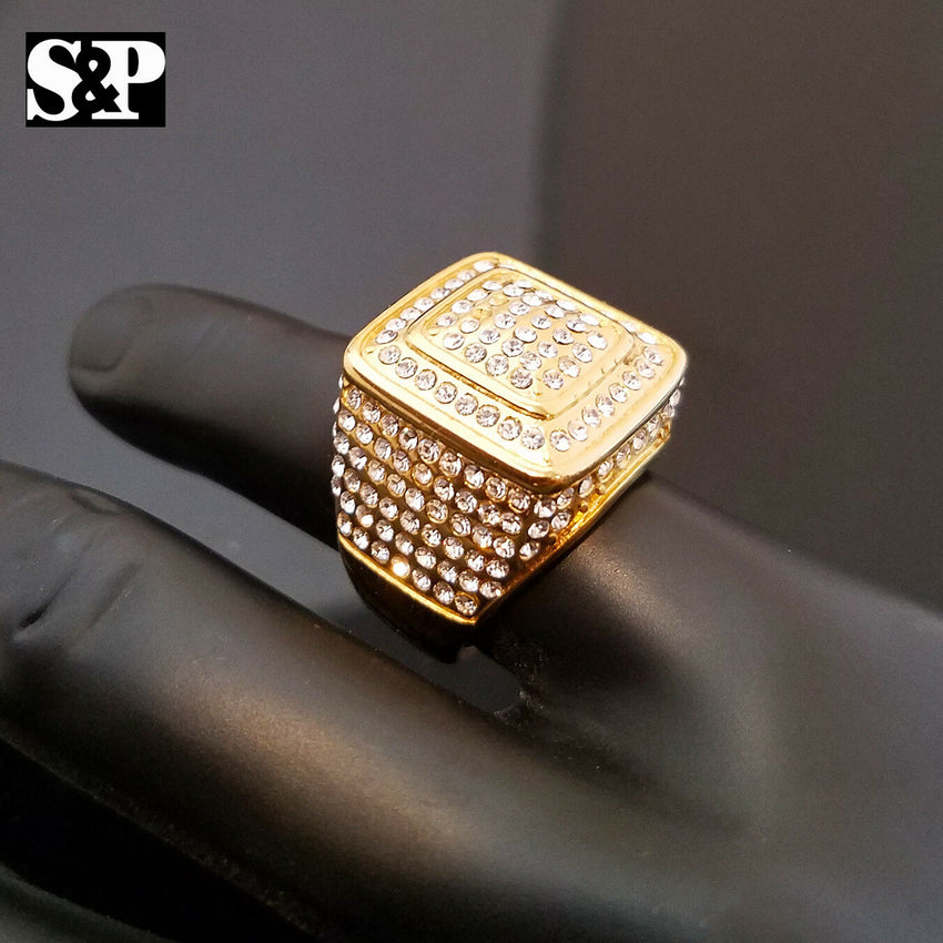MENS STAINLESS STEEL ICED OUT HIGH QUALITY BLING GOLD PT MICRO PAVE PINKY RING