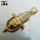FULL ICED HIP HOP RAPPER'S GOLD PLATED CZ LARGE MIC PENDANT