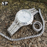 MEN HIP HOP ICED OUT QUAVO BLING WATCH & RING & TENNIS CHAIN BRACELET COMBO SET
