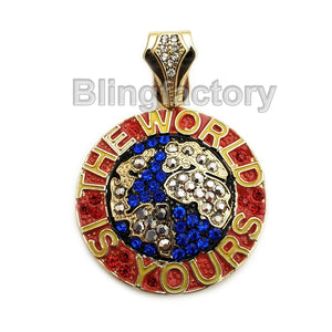 HIP HOP ICED OUT THE WORLD IS YOURS MICRO PAVE BLING RAPPER'S CHARM PENDANT