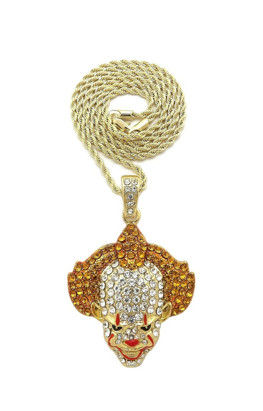 "Iced Out Bling Crazy Clown Pendant & 24"" Box, Rope, Cuban Chain Hip Hop Necklace"