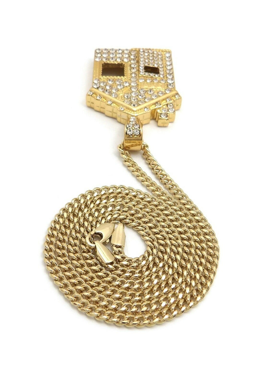 "Iced Out Offset Trap House Pendant & 24"" Box, Rope, Cuban Chain Hip Hop Necklace"