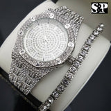 MEN'S HIP HOP WHITE GOLD PT LUXURY WATCH & 1 ROW TENNIS BRACELET COMBO GIFT SET
