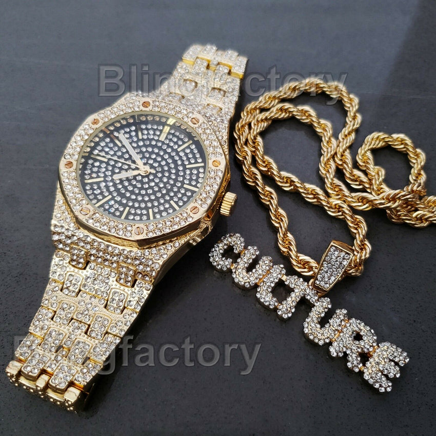 LUXURY MIGOS ICED OUT GOLD PLATED LAB DIAMOND WATCH & CULTURE NECKLACE SET