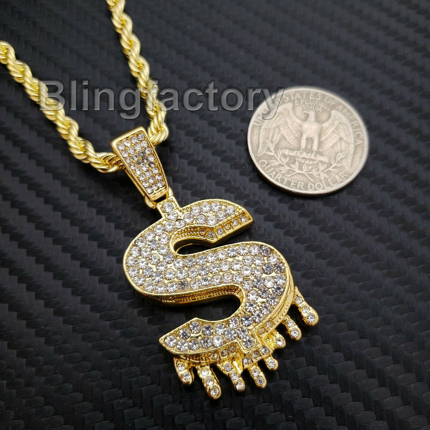 "Hip Hop Iced out Lab Diamond $ Symbol Drip Pendant & 4mm 24"" Rope Chain Necklace"