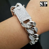 "Hip Hop Iced out 19mm 8.5"" Heavy White Gold PT Brass Premium CZ Stone Bracelet"
