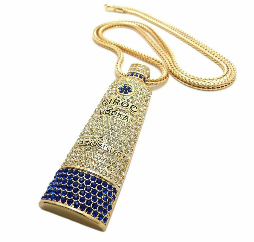"HIP HOP ICED OUT GOLD CIROC VODKA BOTTLE PENDANT & 4mm/36"" FRANCO CHAIN NECKLACE"
