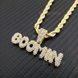 "Hip Hop Iced out Bubbled Letter BOOMIN Pendant & 5mm 24"" Rope Chain Necklace"