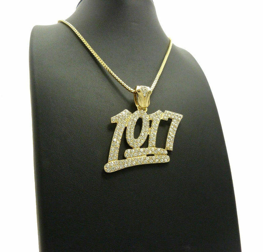 "Iced Out Bling Number 1017 Pendant & 24"" Box, Rope, Cuban Chain Hip Hop Necklace"