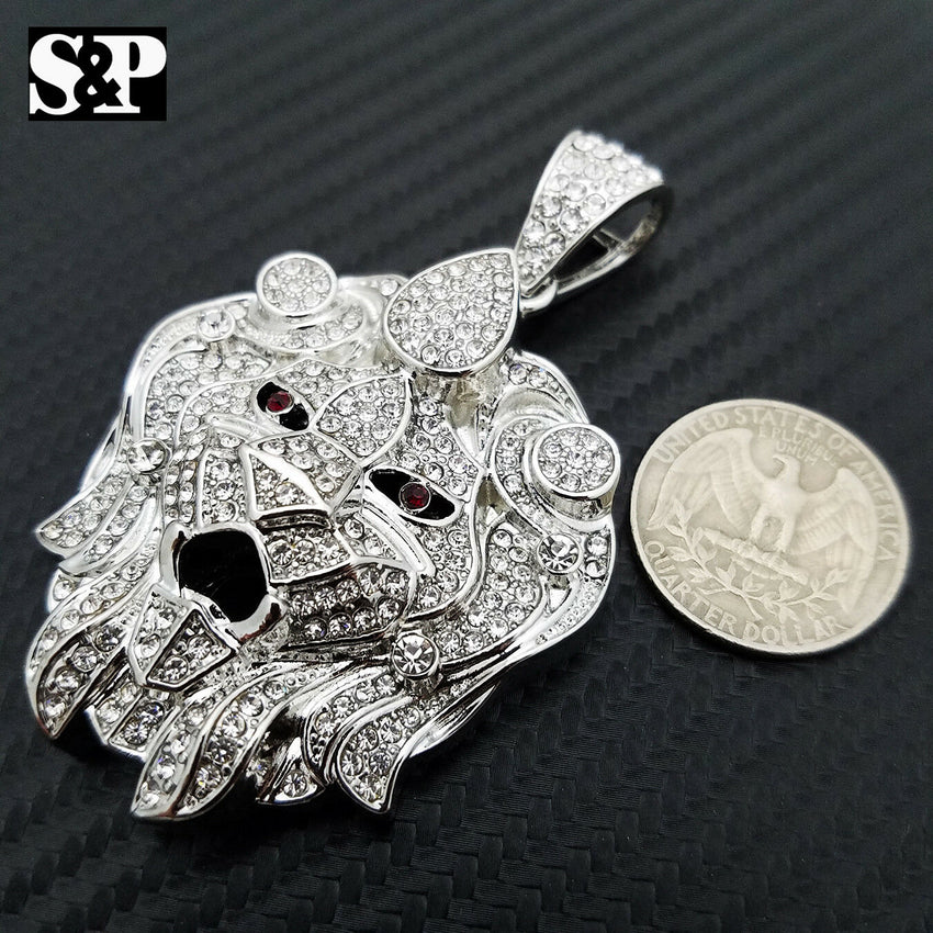 HIP HOP ICED OUT LAB DIAMOND WHITE GOLD PLATED BLING LARGE LION HEAD PENDANT