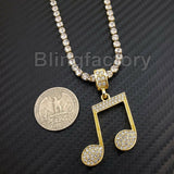 Hip Hop Iced Music Note Pendant & 1 Row Diamond Tennis Choker Chain Necklace