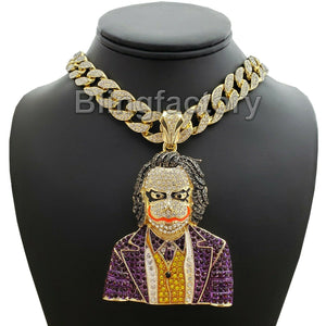 Hip Hop Large JOKER Pendant & 16