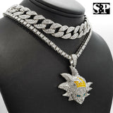 "Hip Hop SON GOKU pendant w/ 18"" Full Iced Cuban & 1 ROW DIAMOND Choker Chain Set"