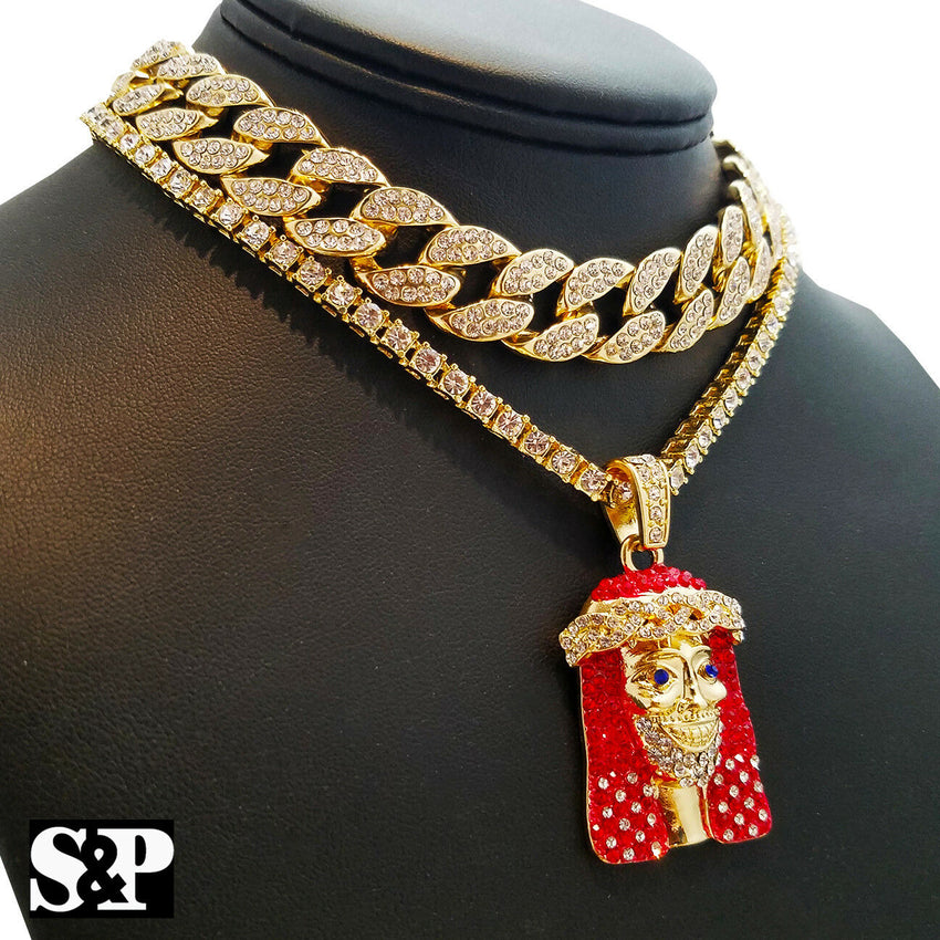 "Hip Hop Lil Yachty RED JESUS 18"" Full Iced Cuban & 1 ROW Tennis Choker Chain Necklace Set"