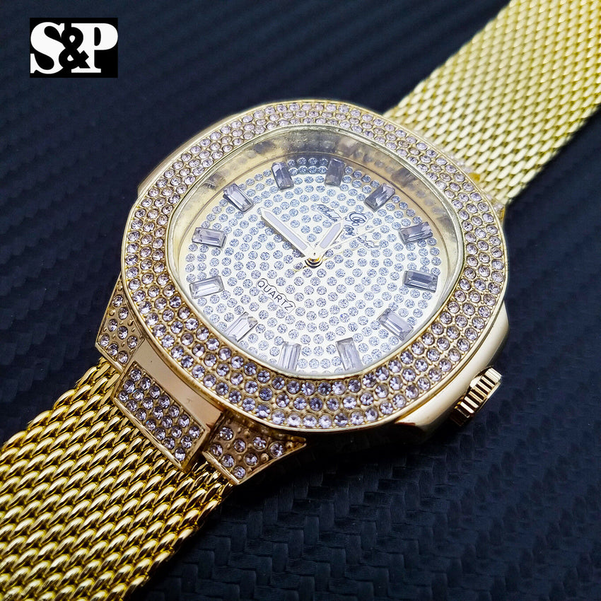 Men's Luxury Bling Hip Hop Gold plated Lab Diamond Mesh Band Metal Band Watch