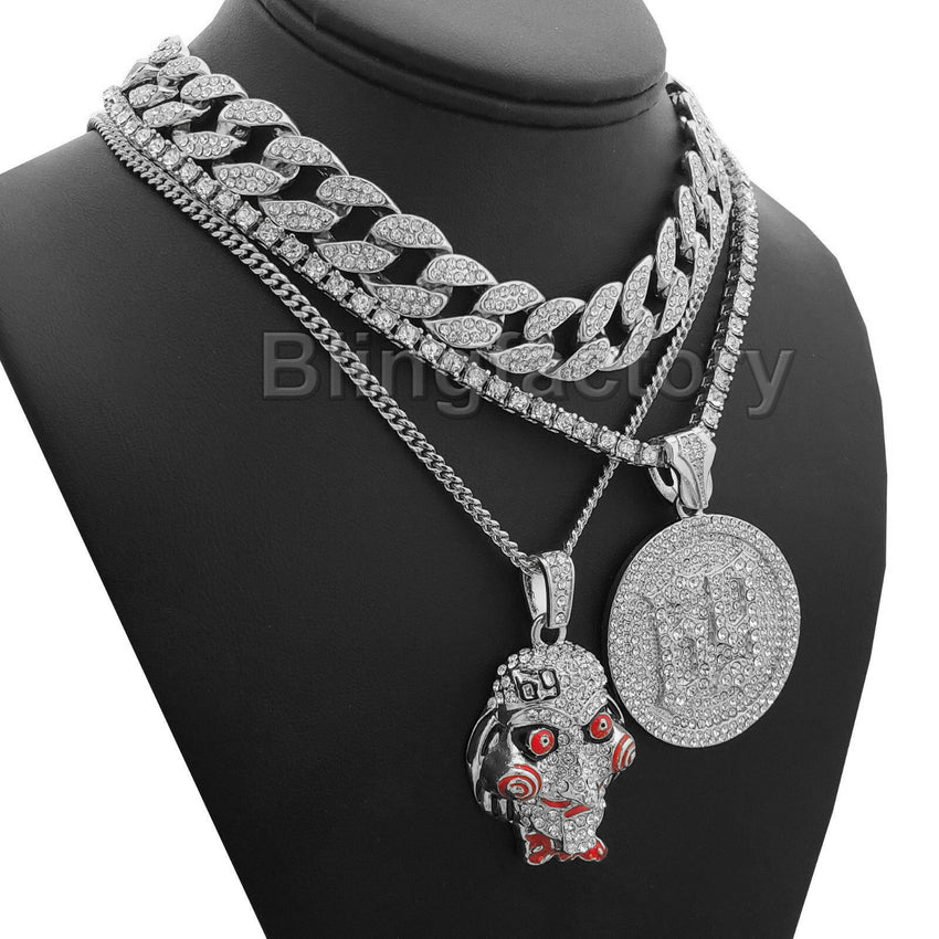 "Hip Hop Tekashi69 SAW 69 pendant 18"" 24"" Full Iced Cuban Choker Chain Necklace"