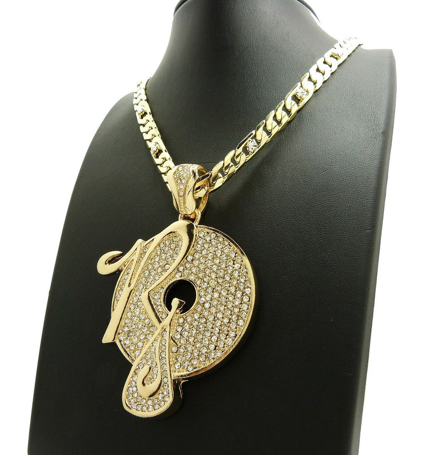 "Iced Out Hip Hop Rocafella Pendant & 7mm 30"" Lab Diamonds Figaro Chain Necklace"