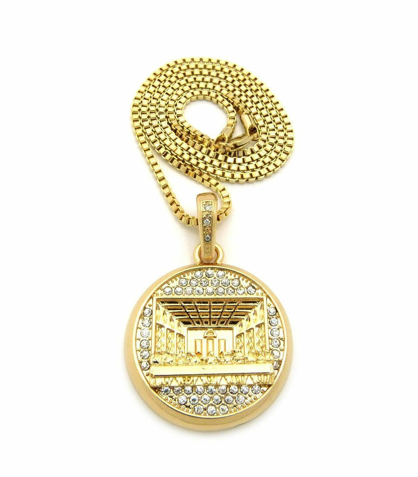 """14K Gold PT Iced Last Supper Frame Pendant w 24/"""" 12mm Cuban Chain Necklace 8017"""