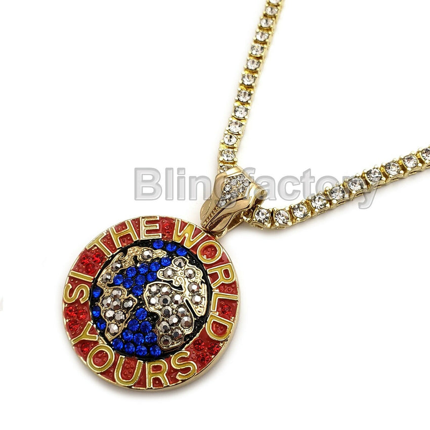 "Hip Hop Iced The World is Yours Pendant & 18"" 1 Row Tennis Choker Chain Necklace"