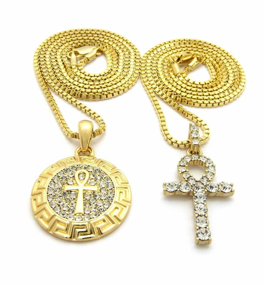 "Iced Out Egypt Breath of Life Ankh Pendant w/ 24"",30"" Box Chain 2 Necklace Set"