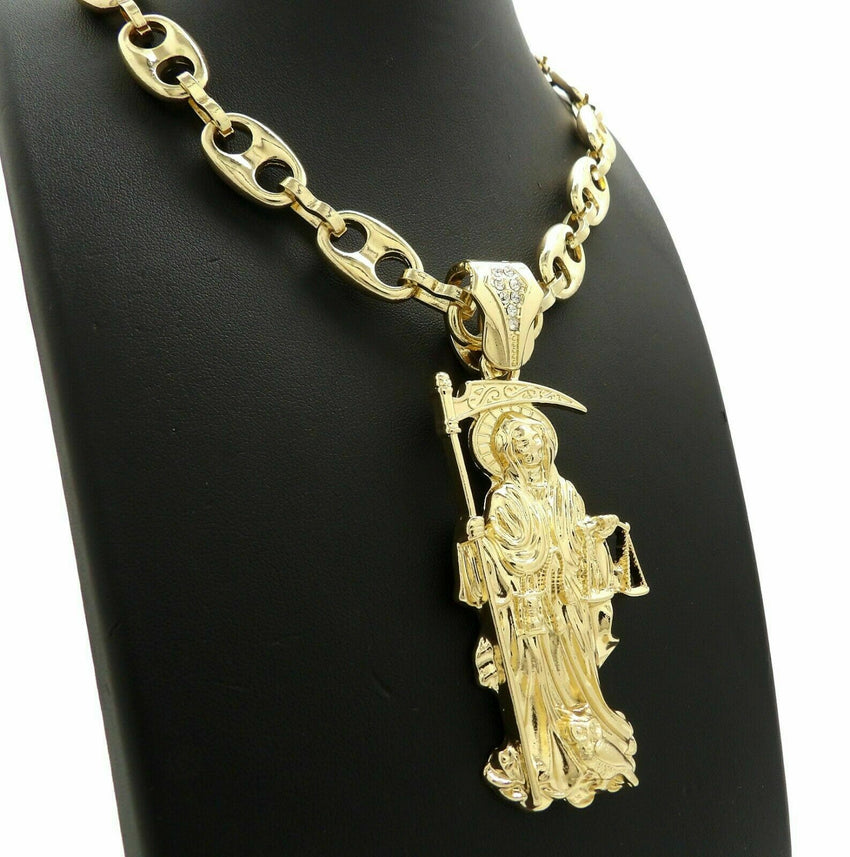 "Hip Hop Iced Santa Muerte Pendant & 12mm 20"" Marina Choker Chain Chain Necklace"