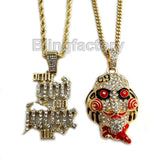 "Iced Jigsaw & ""Only God Can Judge me"" Pendant & 20"" 24"" Rope, Cuban Chain Necklace Set"