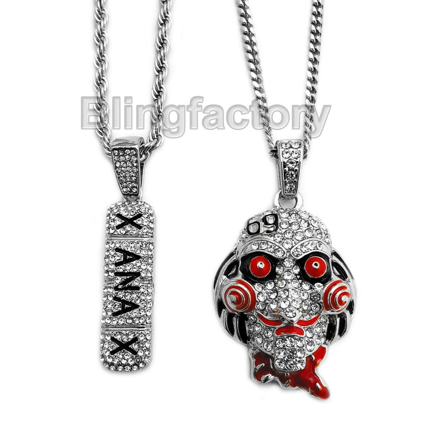 "Hip Hop Iced out Saw & XANAX Pendant & 20"" 24"" Rope, Cuban Chain Necklace set"