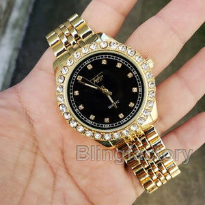 Iced out Hip Hop Tekashi69 Black Dial Lab Diamond Gold plated Metal Band Watch