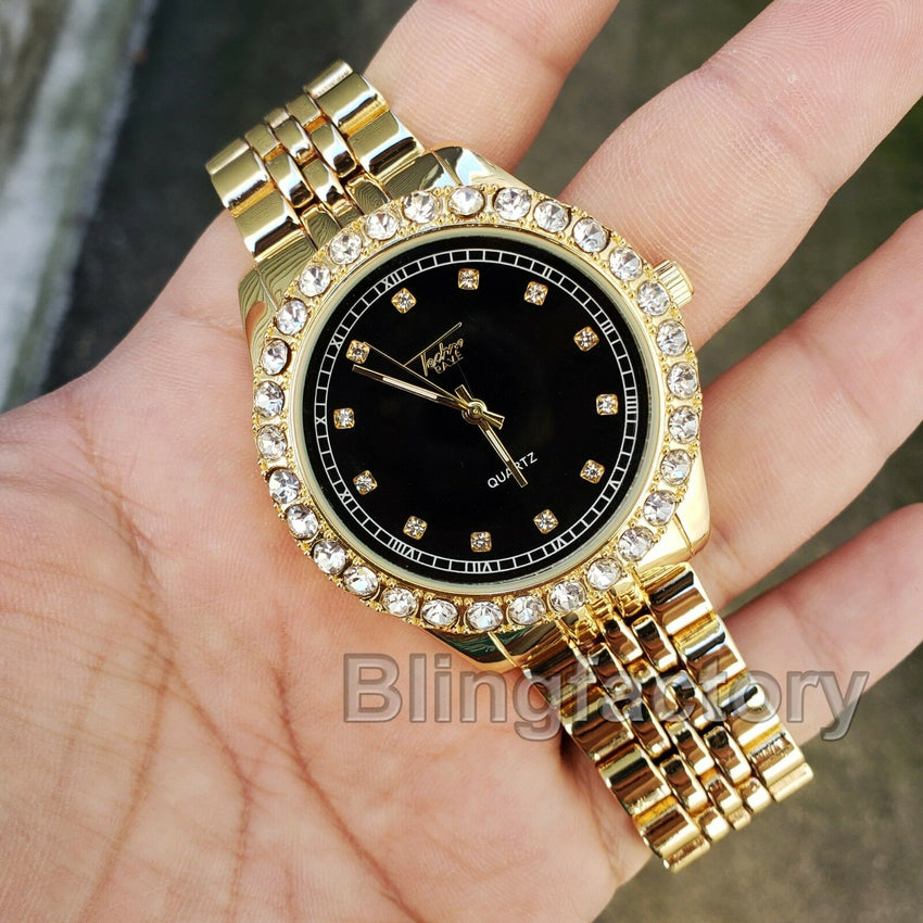 Iced out Hip Hop Jay-Z Black Dial Lab Diamond Gold plated Metal Band Watch