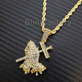 "Hip Hop Iced Lab Diamond Prayer Hands Drip Pendant & 24"" Rope Chain Necklace"
