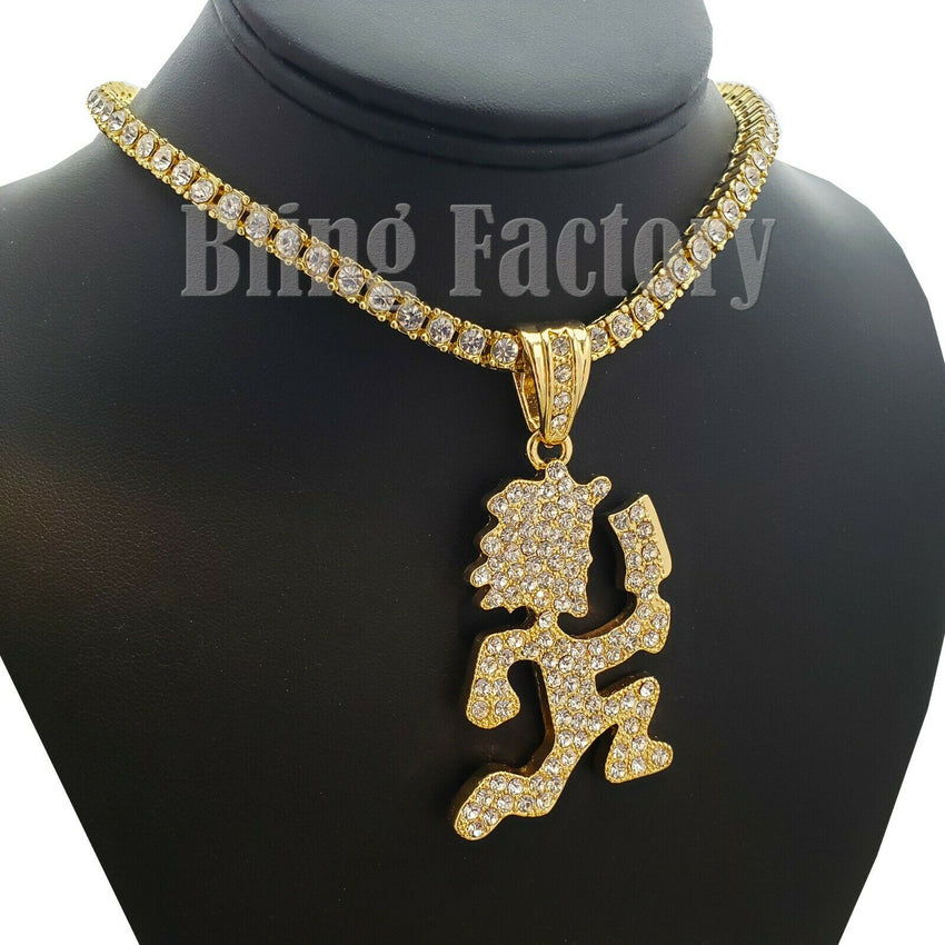 "Hatchet Man Runner Pendant & 18"" Full Iced Cuban & 1 Row Tennis Choker Chain Necklace Set"
