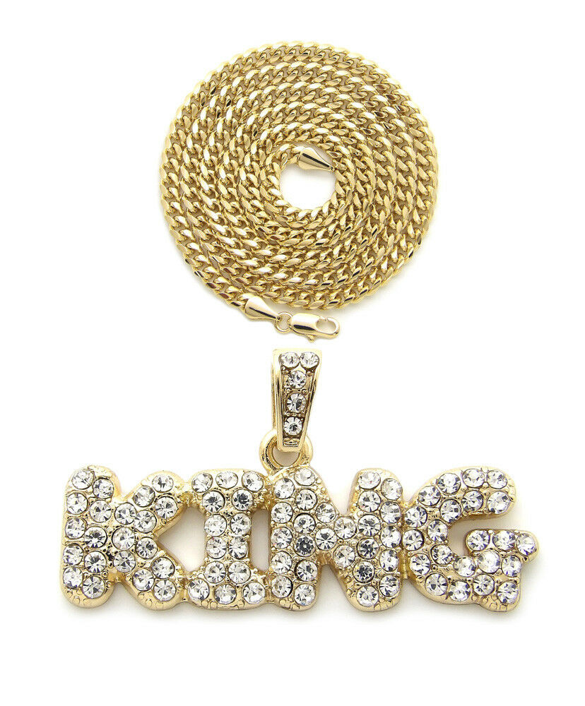 "Iced Out Bubble Letter KING Pendant & 24"" Box, Cuban, Rope Chain Hip Hop Necklace"