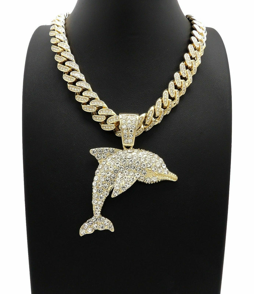 "Hip Hop YOUNG DOLPH DOLPHIN Pendant & 18"" Full Iced Out Cuban Choker Chain Necklace"