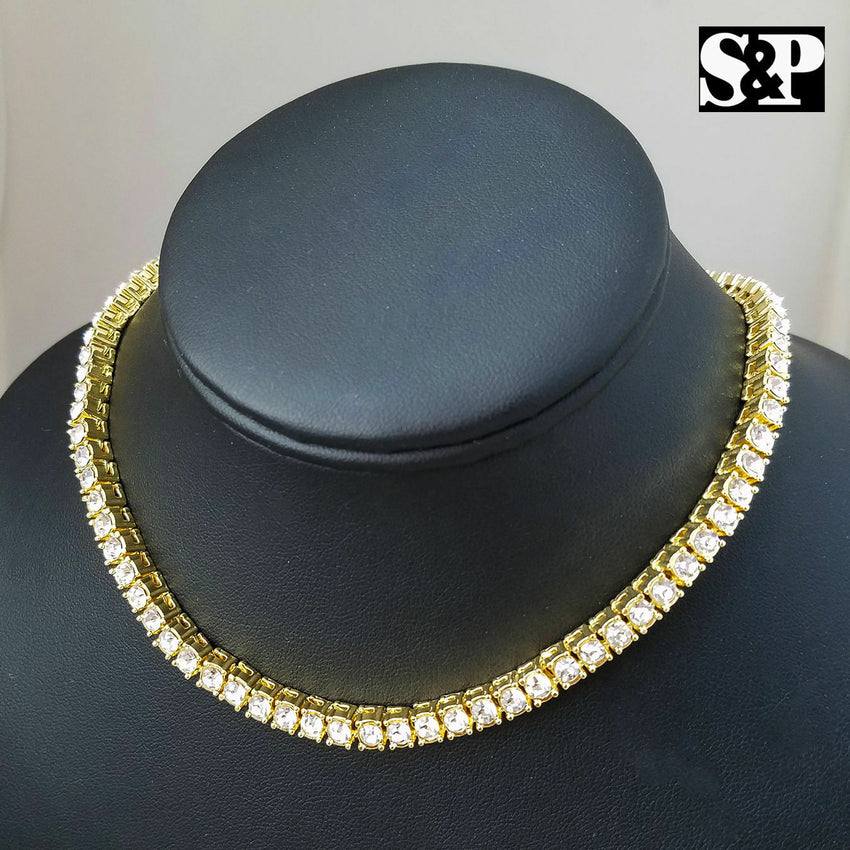 "Hip Hop Rapper's Iced out 16"" 1 ROW DIAMOND TENNIS CHAIN Quavo Choker  NECKLACE"