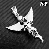 HIP HOP ICED OUT RAPPER STYLE LAB DIAMOND WHITE GOLD PLATED BABY ANGEL PENDANT