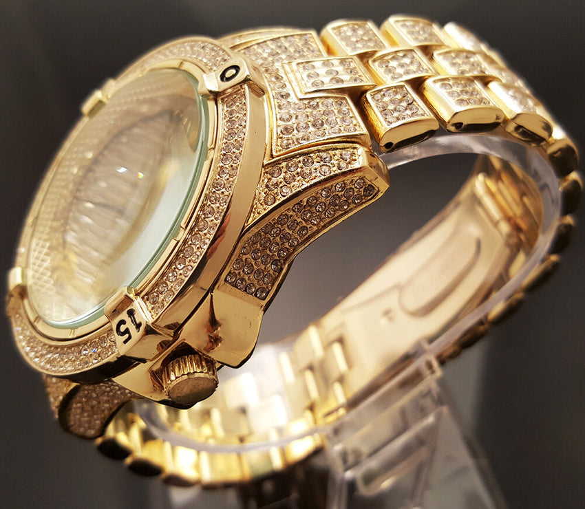 Mens Hip Hop Gold Plated Iced Out Techno Pave Bling Rapper's Metal Band Watch