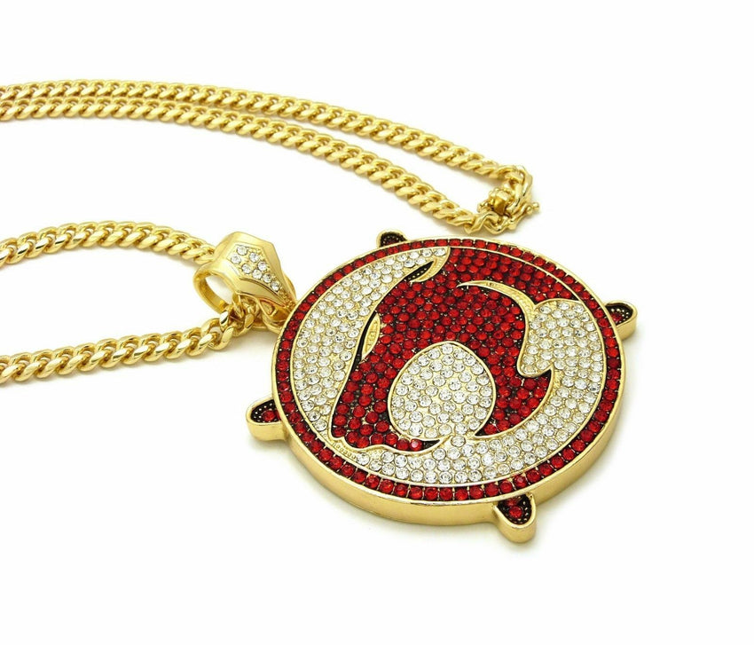 NEW ICED OUT THUNDER CAT PENDANT & BOX CUBAN, FRANCO CHAIN HIP HOP NECKLACE SET