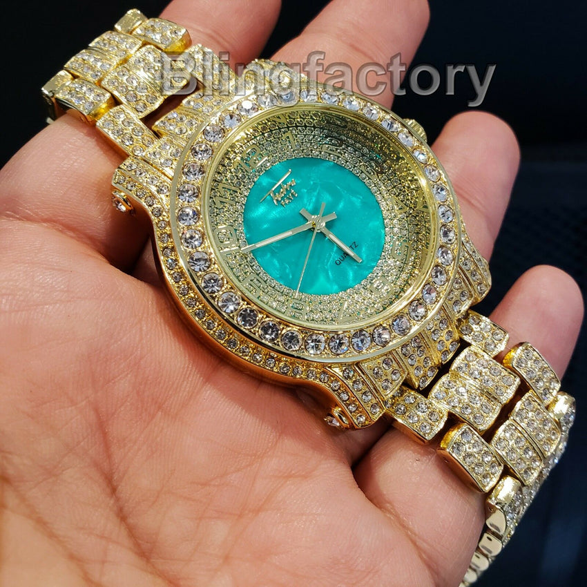 Men Hip Hop Iced out Gold Plated Bling Green Dial Lab Diamond Rapper Metal Watch