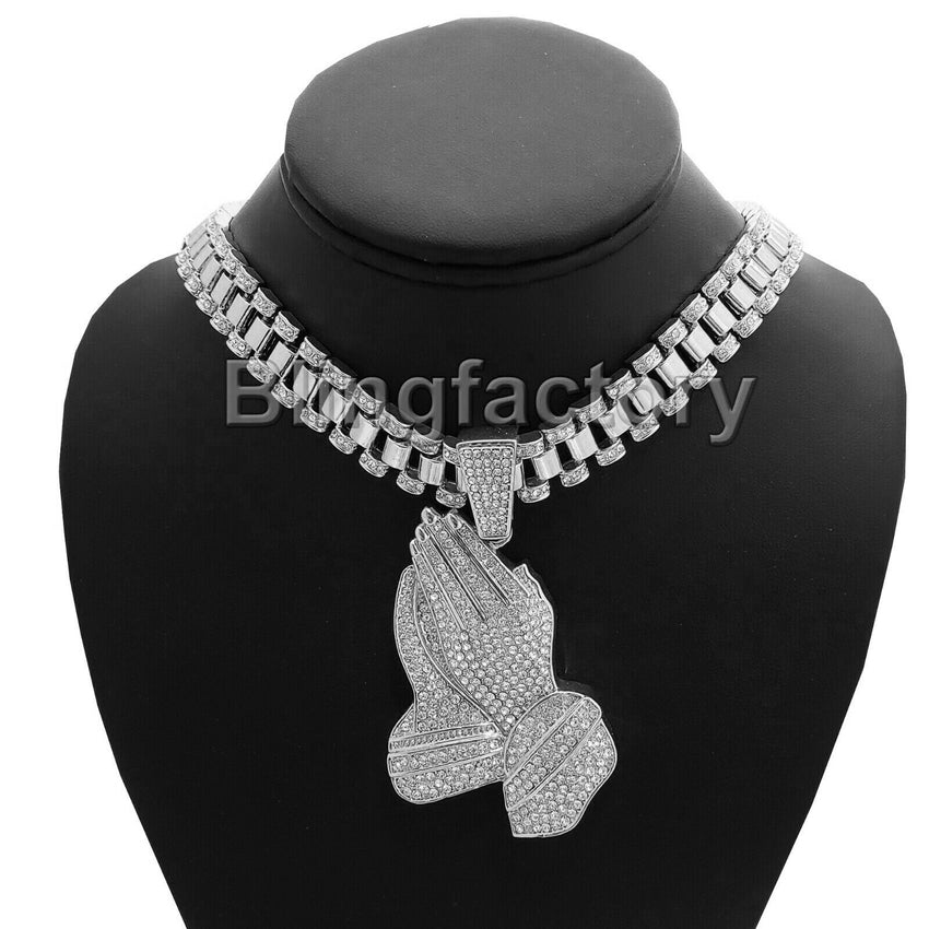"Hip Hop Iced out Silver Tone Praying Hands & 18"" Iced Rollie Link Choker Chain Necklace"