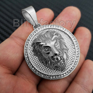 HIP HOP ICED OUT STAINLESS STEEL LAB DIAMOND LION HEAD MEDALLION PENDANT