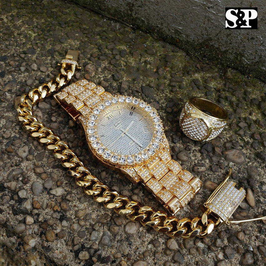 MEN HIP HOP ICED OUT LAB DIAMOND WATCH & RING & CUBAN CHAIN BRACELET COMBO SET