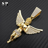 "Hip Hop Bling Gold PT Baby Angel Pendant & 18"" Full Iced Cuban Choker Chain Necklace"