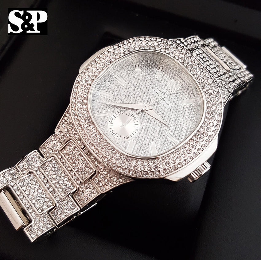 MEN HIP HOP BLING WHITE GOLD PT WATCH & 1 ROW TENNIS CHAIN BRACELET COMBO SET