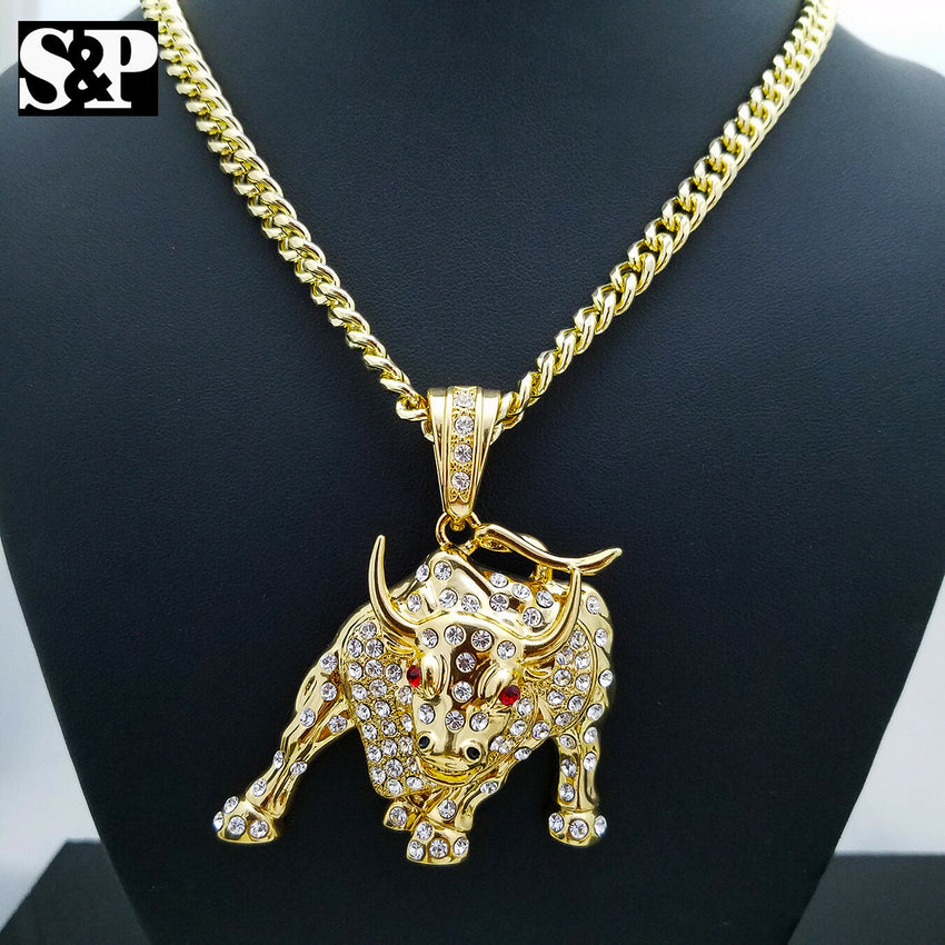 "Iced Out Gold Plated Big Bulls Pendant & 6mm 30"" Cuban Chain Hip Hop Necklace"