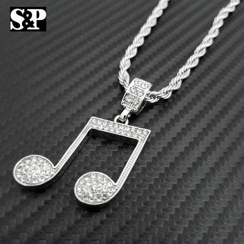 "Unisex Iced out Fashion Music Note Pendant & 24"" Rope Chain Necklace"