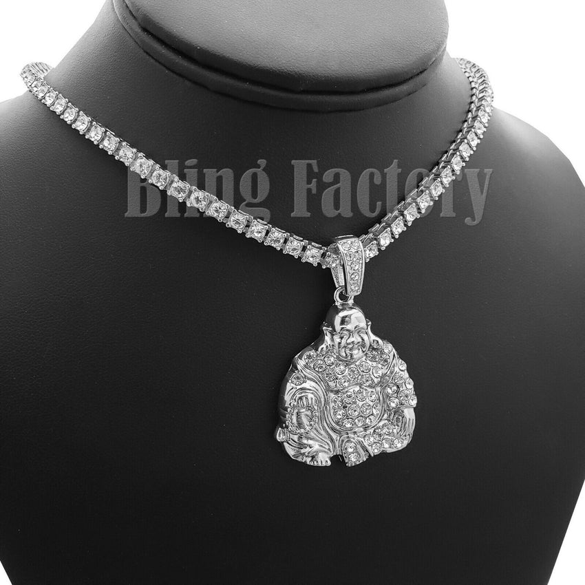 "Hip Hop Happy Buddha Pendant & 18"" Iced 1 Row Tennis Choker Chain Necklace"