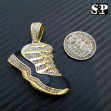 Men's Iced out 14K Gold Plated Hip Hop Lab Diamonds Black Retro 11 Shoe Pendant