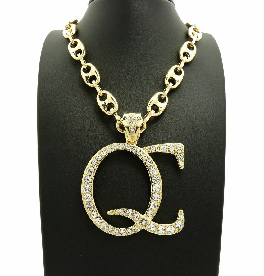 "New Iced Out Gold plated 'QC' Pendant & 12mm 30"" Marina Chain Hip Hop Necklace"